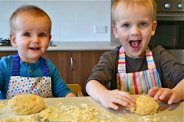 My crazy kids - making pasta