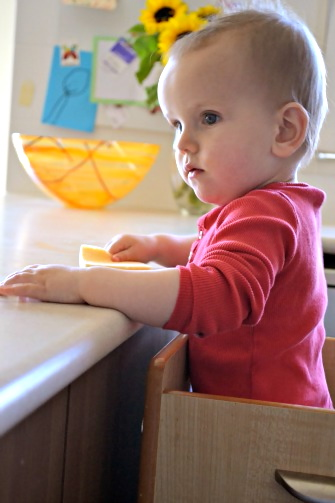 Otis wiping counter in fun pod