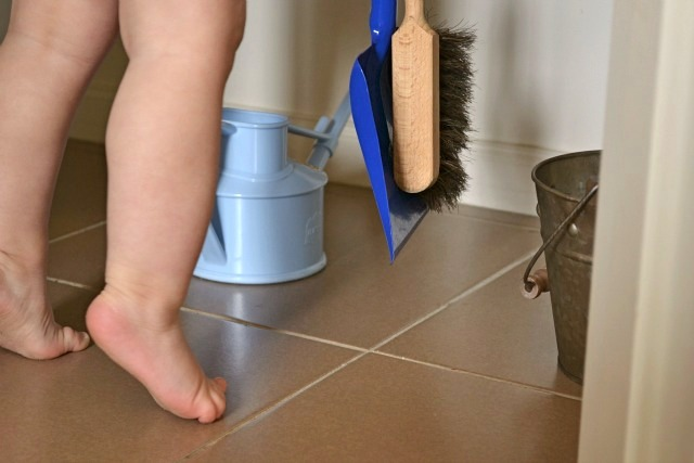 Practical life materials - watering can, dustpan and broom and bucket
