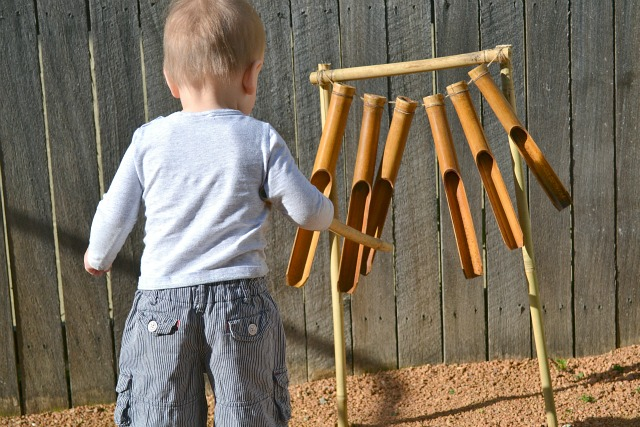 Bamboo chimes add sound to our sensory garden.