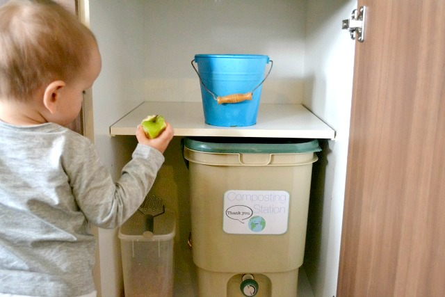 Putting things away and tidying up - putting food waste into compost bucket