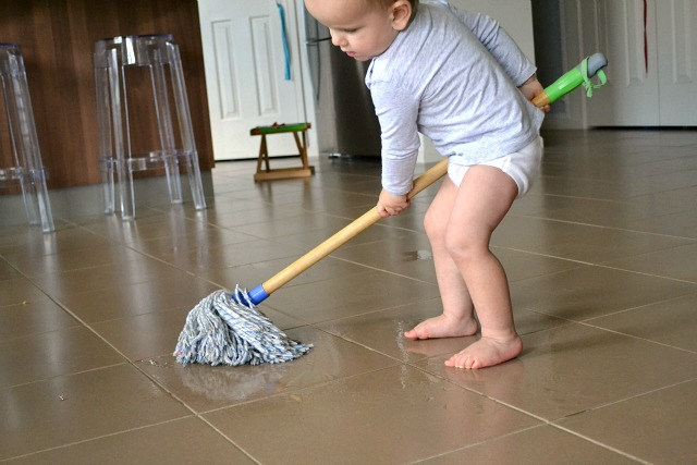 Otis washing the floor  at home  at 17 months. Why attend a Montessori Parent Toddler Program    how we montessori
