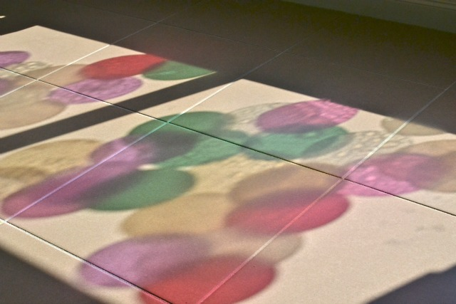 Colour reflections on floor - morning sun