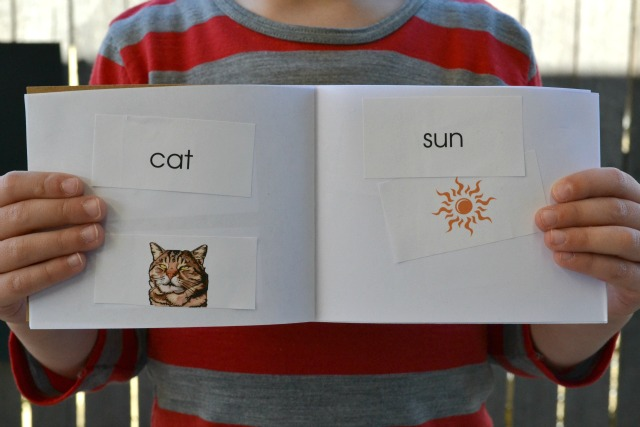Matching word and picture book