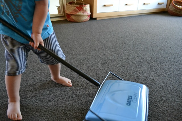 Otis with carpet sweeper