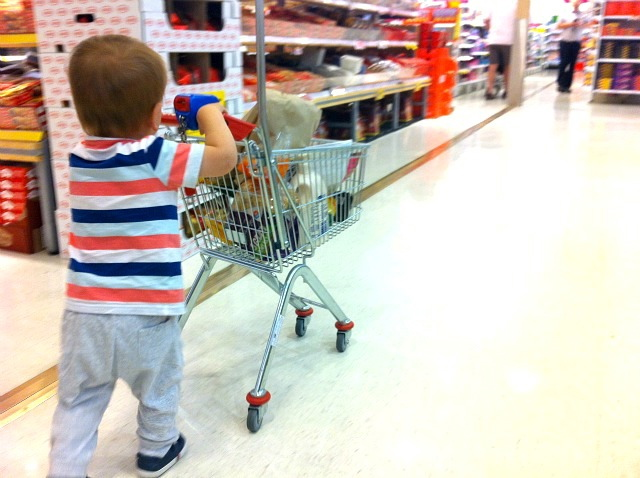 Otis with Coles mini shopping cart