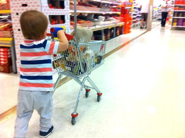Otis with Coles mini shopping cart