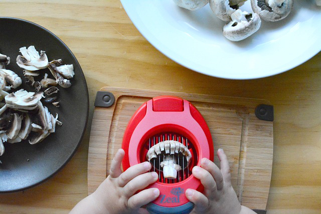 Otis slicing mushrooms with slicer 24 months
