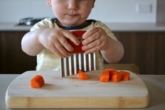 Otis at 17 months using crinkle cutter