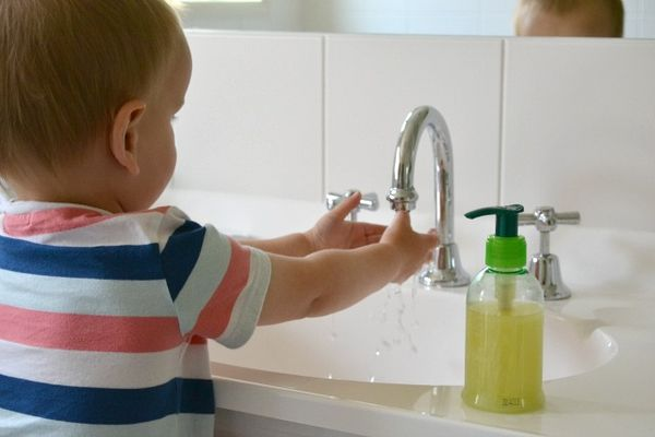 Brushing Teeth Washing Hands Bath Time A Bathroom For