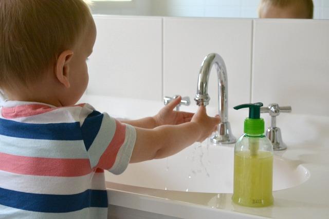 Handwashing using small soap dispenser