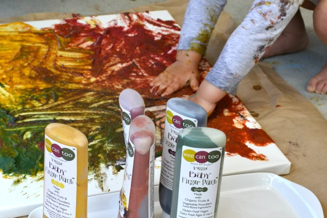 Otis using wee can too veggie baby finger paints