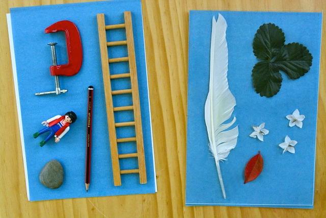 Objects on sunprint paper