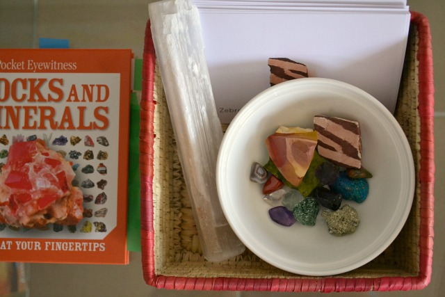 Rocks and minerals with identification cards and reference book