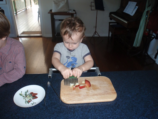 Cutting apple at 17 months