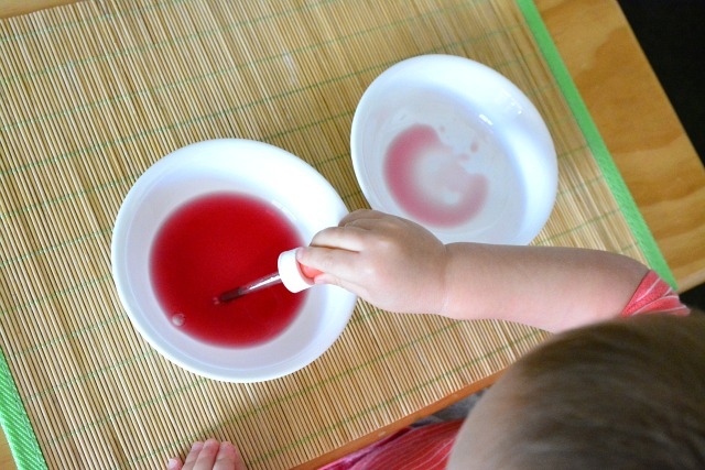 Otis 26 months transferring water with dropper