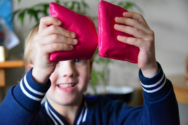 Caspar with matched sensory bean bags