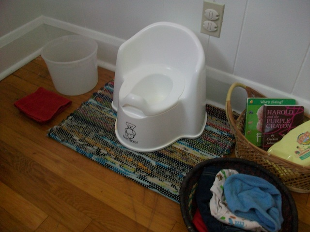 Setting up a toilet training area for a 2 yr old
