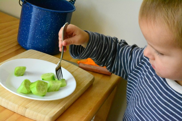 Montessori toddler cucumber snack