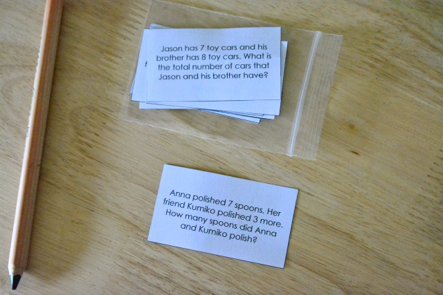 Maths word story questions Montessori for Everyone