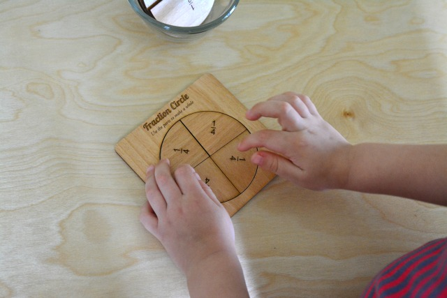 Otis using the fraction circle Dec 2014 at three years