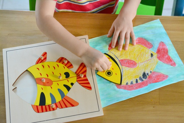 Otis matching fish puzzle to drawing May 2015