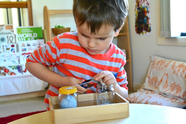 Otis snipping thread Montessori Sewing Ideas at How we Montessori