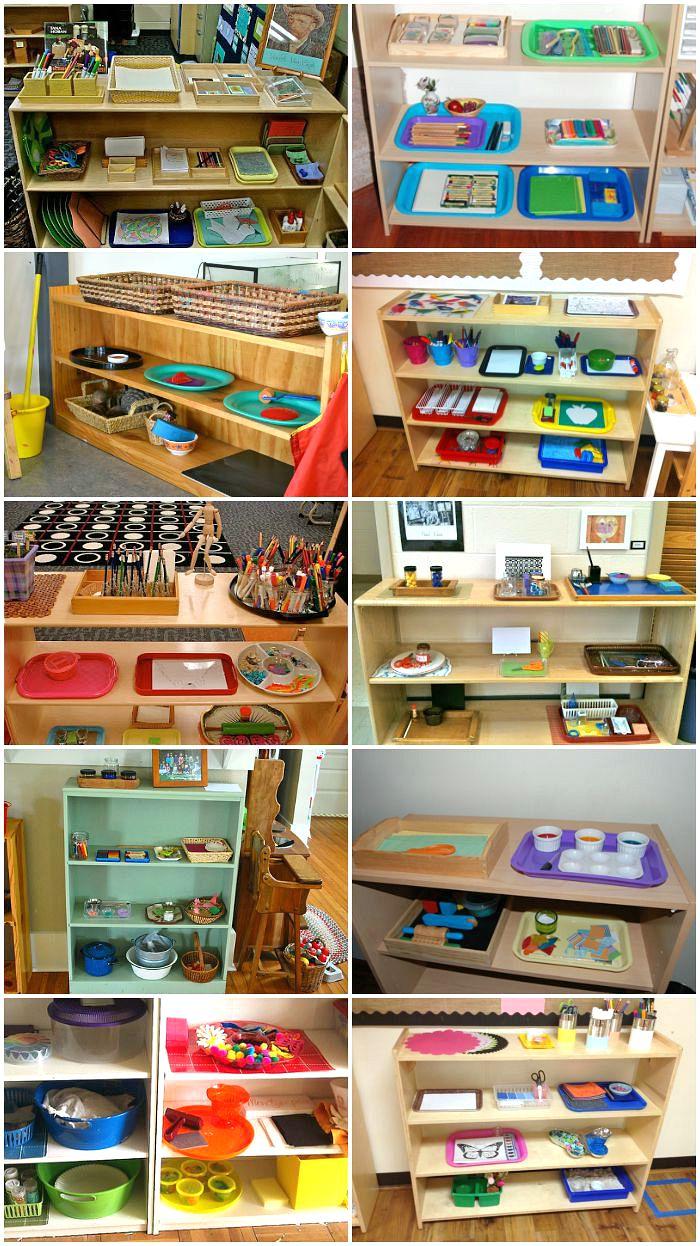 Montessori Art Areas and Shelves at Montessori Schools