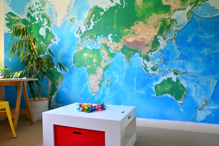 Wall paper world map at How we Montessori