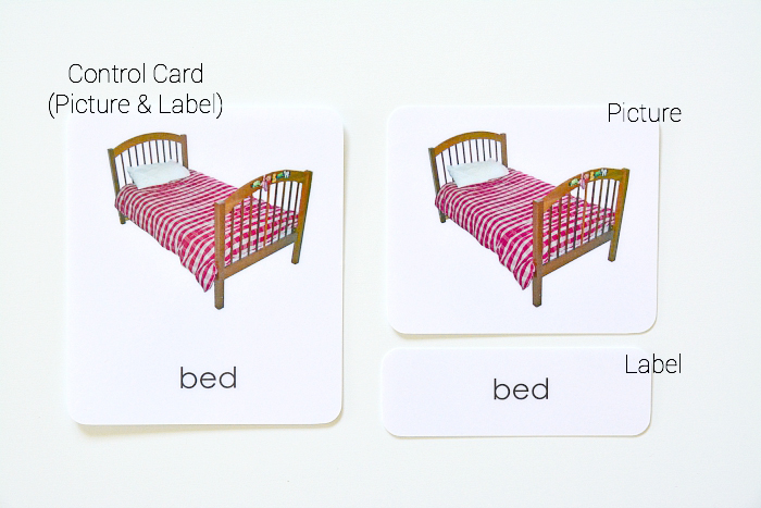 Labelled phonentic three part cards at How we Montessori