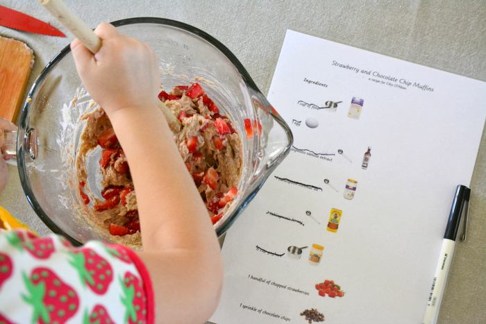 Otis stiring muffin mixture at How we Montessori, illustrated recipe