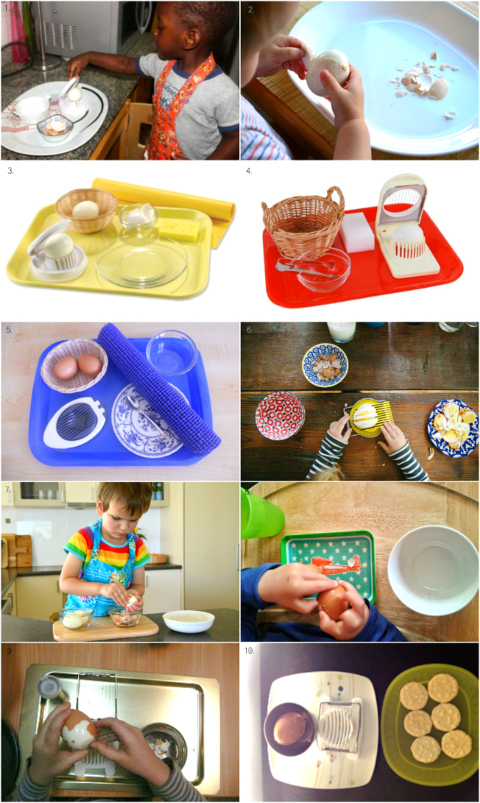 Montessori Egg Peeling and Slicing Activities