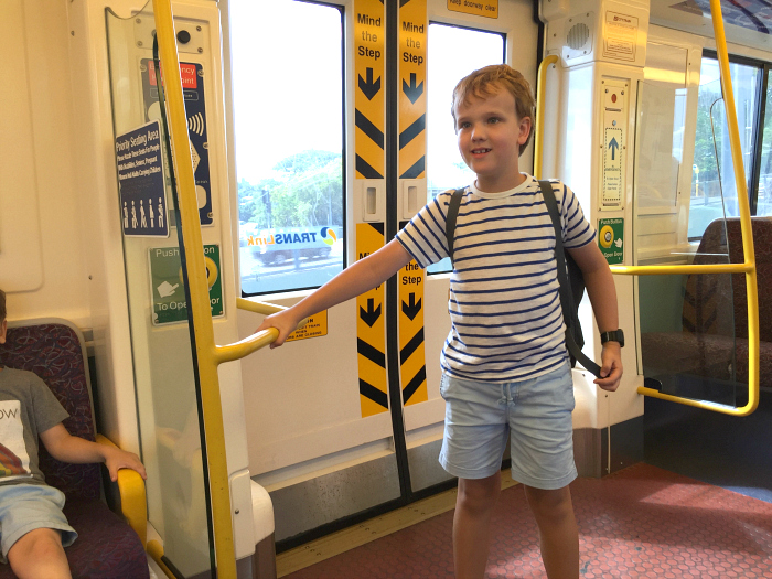 Caspar on train Brisbane