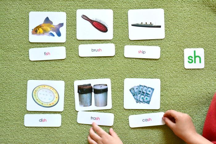 Montessori Three Part Cards Language Materials at How we Montessori, learning phonograms 'sh'