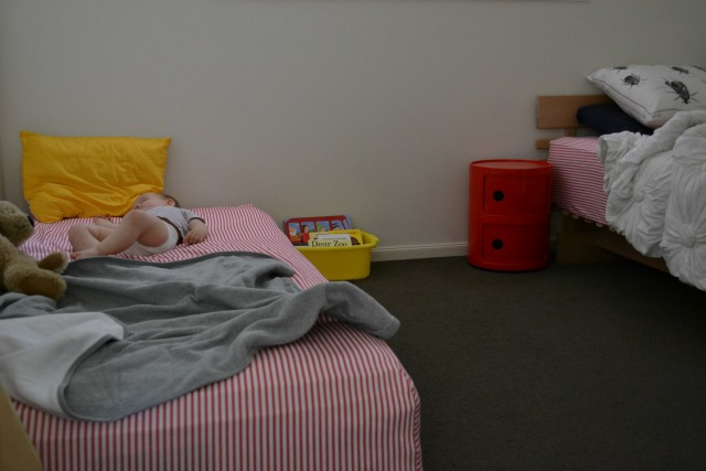 Otis floor bed, sharing a room at How we Montessori