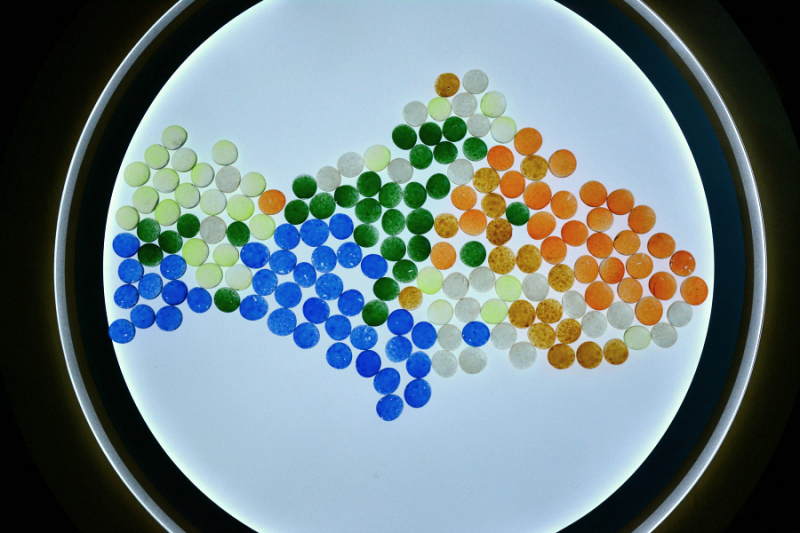 LIght table - glass stones at How we Montessori
