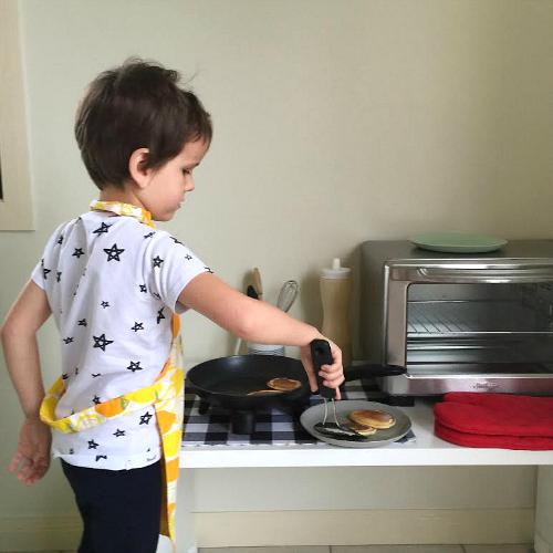 Otis cooking breakfast on Instagram