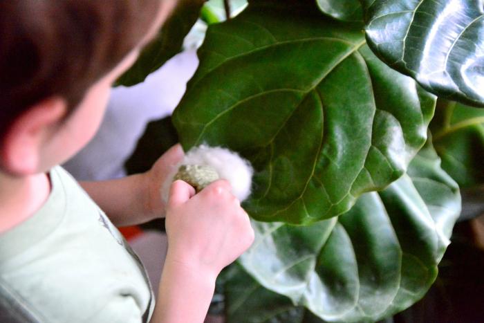 Otis leaf dusting at How we Montessori July 2016