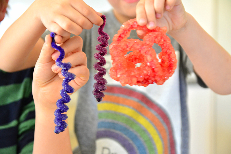 Borax crystals on pipe cleaners at How we Montessori