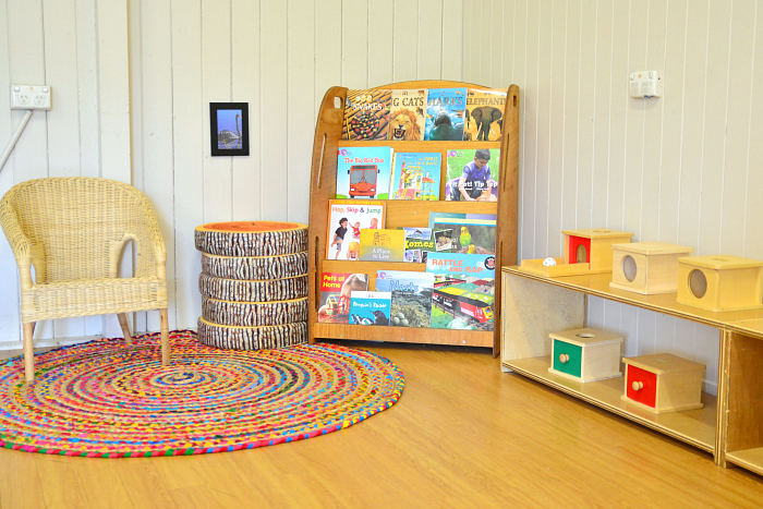Reading area, I Am Montessori Brisbane, Parent Child Classes at How we Montessori