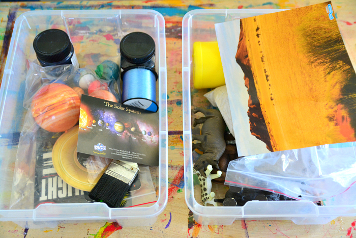 Supplies for making the diorama at How we Montessori