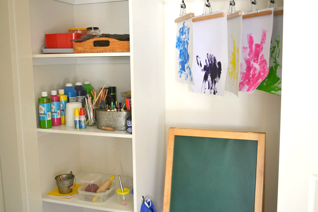 Art Area at How we Montessori including toddler shelves #2