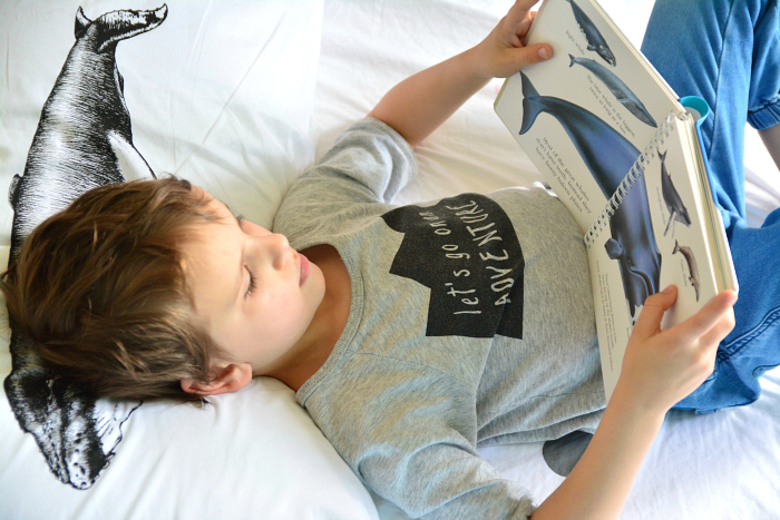 Otis reading Whales (My First Discoveries) at HWM