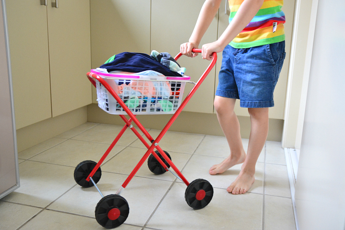 Otis with Laundry Trolley from Child.com.au, Montessori Practical Life Laundry
