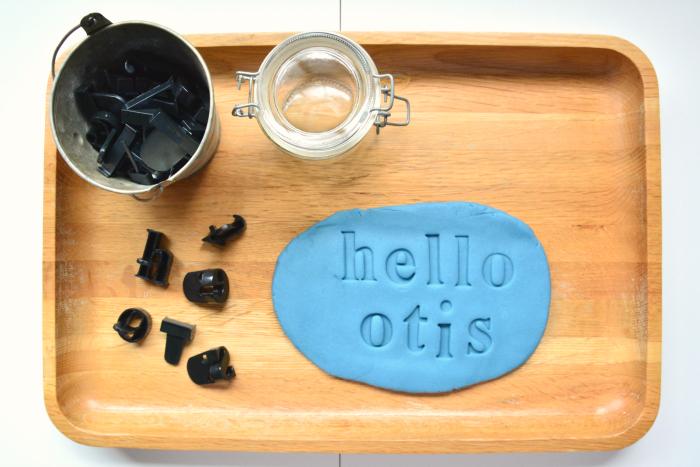 Alphabet Stamps at How we Montessori - blue playdough