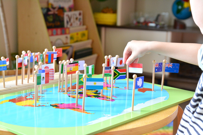 Otis with Indonesian Flag, Montessori Geography Flag Material