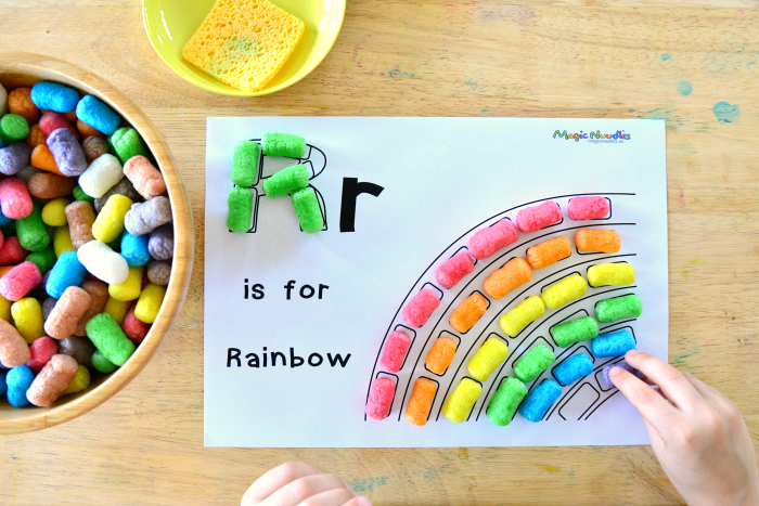 R is for Rainbow, Magic Nuudles at How we Montessori