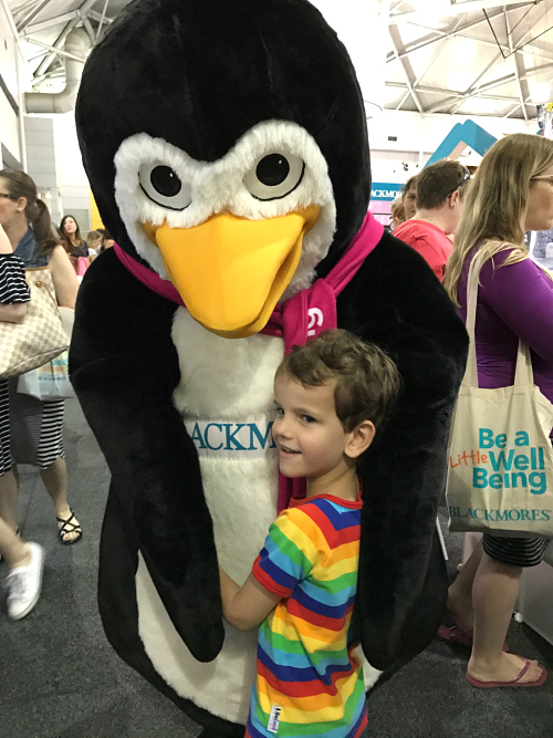 Otis with Percy Penguin at Brisbane Baby and Toddler Show 2017