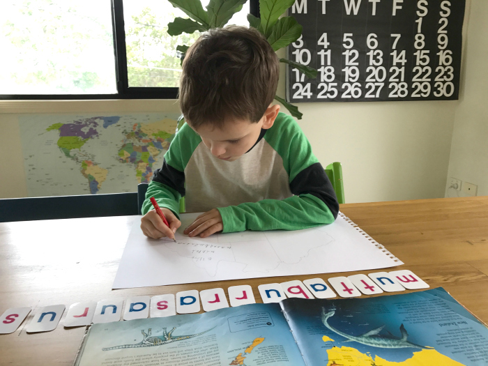 Otis' school holiday self directed learning at How we Montessori