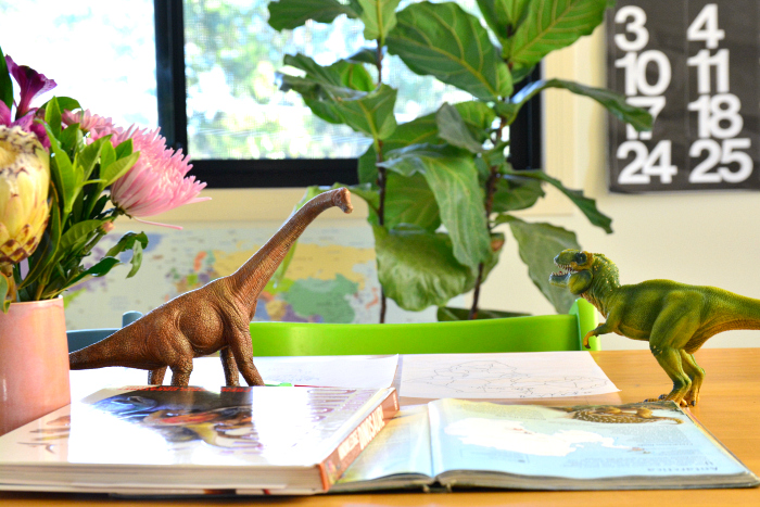 Otis' Dinosaur Work at How we Montessori